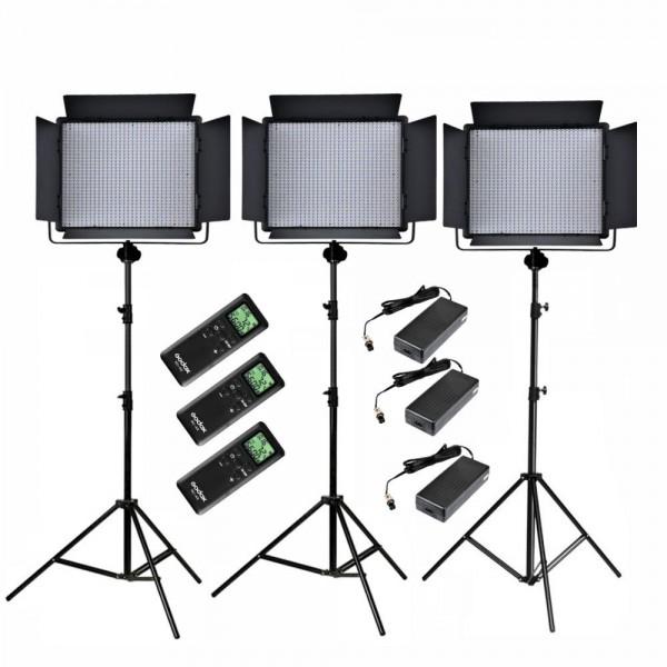 Godox LED1000C Bi-Color LED Video Light 3 Ligth Set Kit