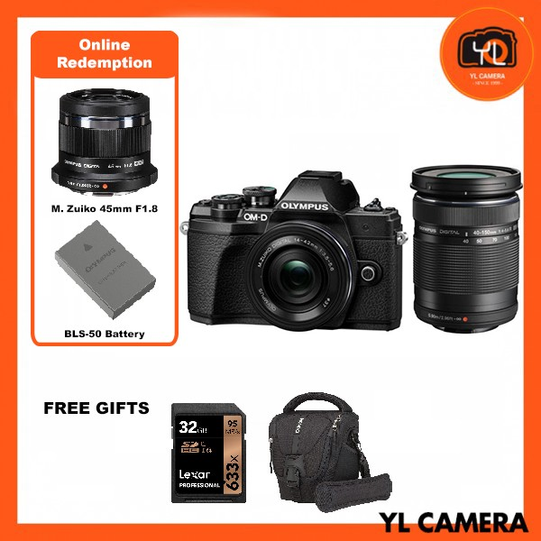 (Promotion) Olympus OM-D E-M10 Mark III Twins Lens Kit [14-42mm + 40-150mm] – Black [Free Lexar 32GB 95MB SD Card + Benro ELZ10 Camera Bag] [Online Redemption 45mm F1.8 + Extra Battery]