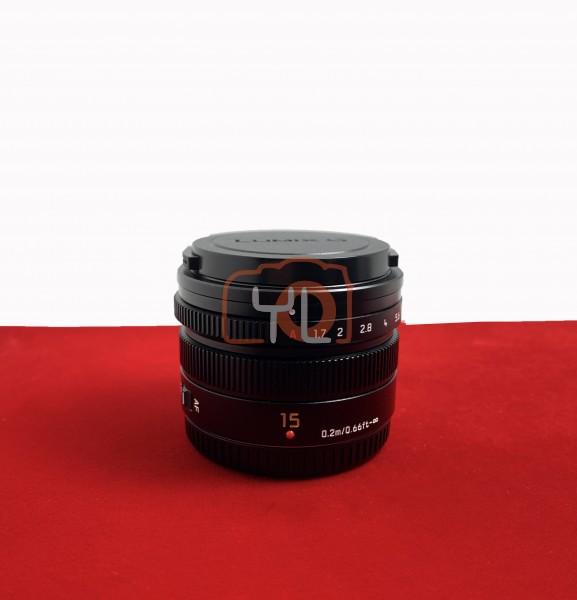 [USED-PJ33] Panasonic 15MM F1.7 DG Summilux ASPH Lumix G, 95% Like New Condition (S/N:HN4FA008949)