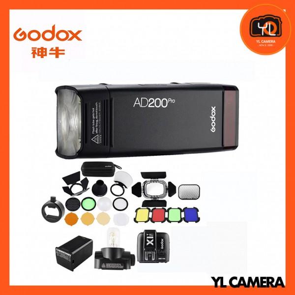 Godox AD200Pro TTL Pocket Flash Kit with X1T-F TTL Wireless Flash Trigger + BD-07 Barn Door Honeycomb Kit + AK-R1 Accessory Kit + SR1 Round Head Adapter for Fujifilm Combo Set