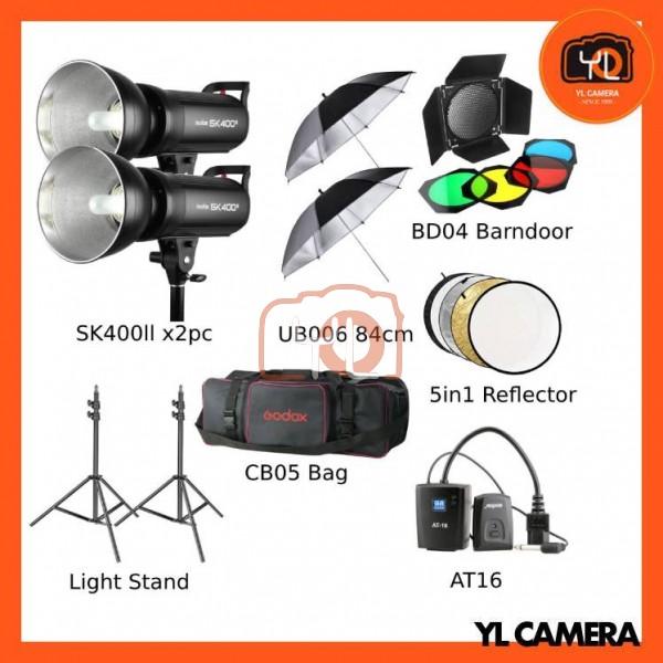 Godox SK400II Studio Strobe Advance Studio Kit Set (2 Lights, 84cm Umbrella, Barndoor, Trigger, Carrying Case)