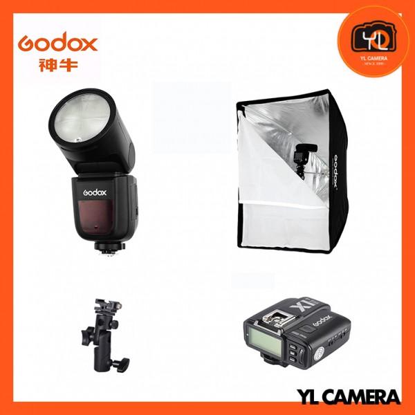Godox V1F Fujifilm TTL Li-ion Round Head Flash + SB-GUBW 60x60cm Umbrella Style Grip Softbox + Flash Umbrella Holder Wiht X1T-F Fro Fujifilm Combo Set