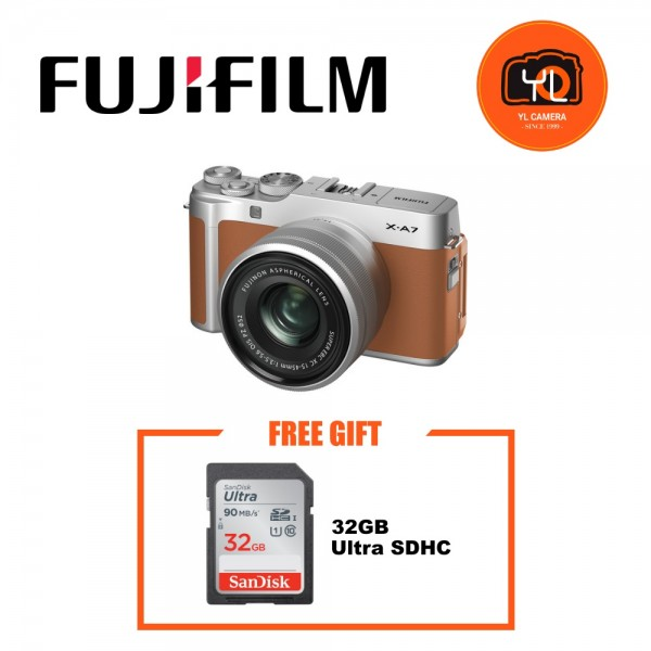 (Promotion) Fujifilm X-A7 + XC 15-45mm f/3.5-5.6 OIS PZ (Camel Brown) [Free 32GB SD Card]