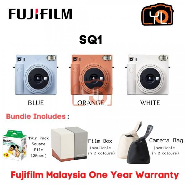 FUJIFILM INSTAX SQUARE SQ1 Instant Film Camera (Chalk White) + Twin Pack ( Free Camera Bag and Film Box )