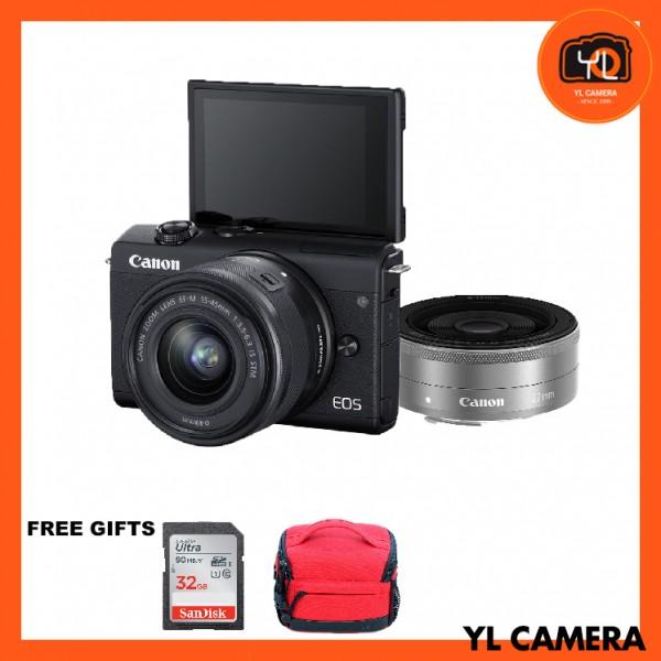 Canon EOS M200 + EF-M 15-45mm F/3.5-6.3 IS STM + EF-M 22mm F2 STM (Black) [Free 32GB SD Card + Camera Bag ]