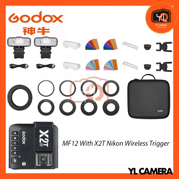Godox MF12 Macro Flash 2-Light Kit With X2T-N Nikon Wireless Trigger
