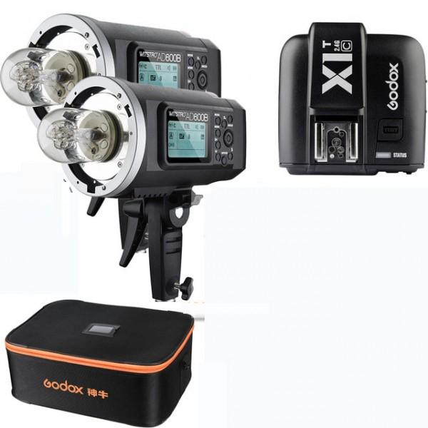 Godox AD600BM All-In-One Outdoor Flash X1T-O Fro Olympus/Panasonic 2 Light Combo Bag Set