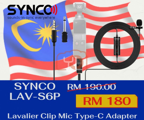 Synco Audio Lav-S6P Lavalier Omnidirectional Condenser Microphone with 3.5mm to Type-C Adapter