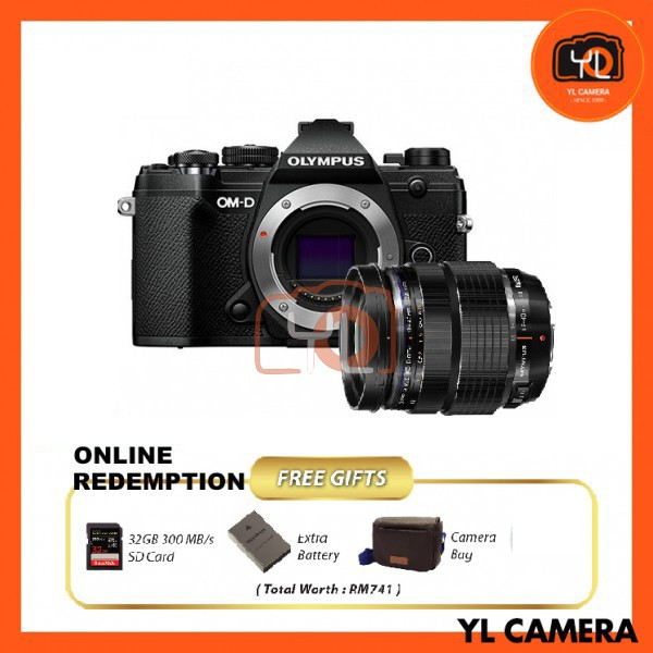 Olympus OM-D E-M5 Mark III W/ 12-40mm F2.8 PRO Lens - Black [Online Redemption Extra Battery + 32GB SD Card UHS-II + Olympus Bag]