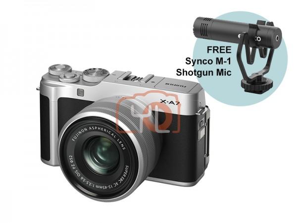 Fujifilm X-A7 + XC 15-45mm f/3.5-5.6 OIS PZ (Silver) W/ Synco M-1 Shotgun Mic [Free 32GB SD Card]