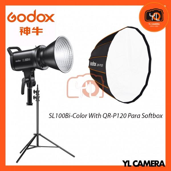 Godox SL100Bi Bi-Color LED With QR-P120 Parabolic Softbox + 280CM Light Stand (1 Light Kit)