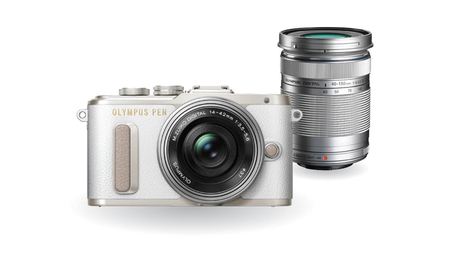 Olympus E-PL8 Twin Lens Kit [14-42mm + 40-150mm] (White)