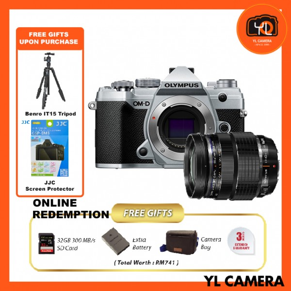 (Promotion) Olympus OM-D E-M5 Mark III W/ 12-40mm F2.8 PRO Lens - Silver (FREE Benro IT-15 Tripod + JJC Screen Protector) [Online Redemption Extra Battery + 32GB SD Card UHS-II + Olympus Bag]