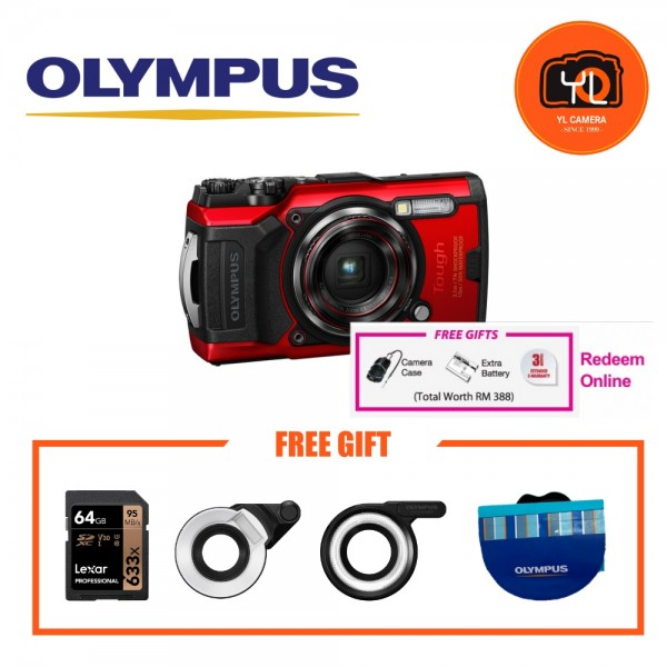 (Promotion) Olympus Tough TG-6 (Red) With FG1 & LD1 Combo [Free LEXAR 64GB SD Card] [Online Redemption Extra Battery + Camera Case]
