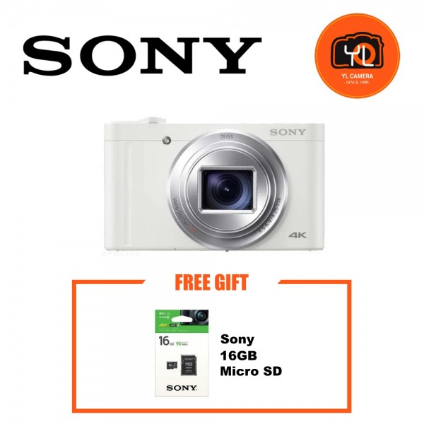 Sony DSC-WX800 Compact High-zoom Camera - White (Free 16GB microSD Card)