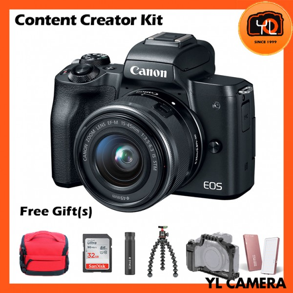 Canon EOS-M50 + EF-M 15-45mm F/3.5-6.3 IS STM (Black) [Content Creator Kit]