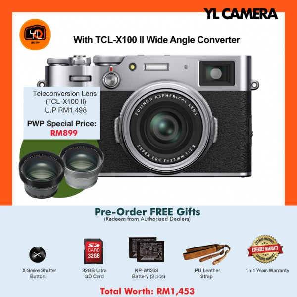 (Pre-Order) Fujifilm X100V - Silver W/ Teleconverter [Free 32GB SD Card + Extra Battery + Leather Strap + Shutter Button + Extended Warranty]