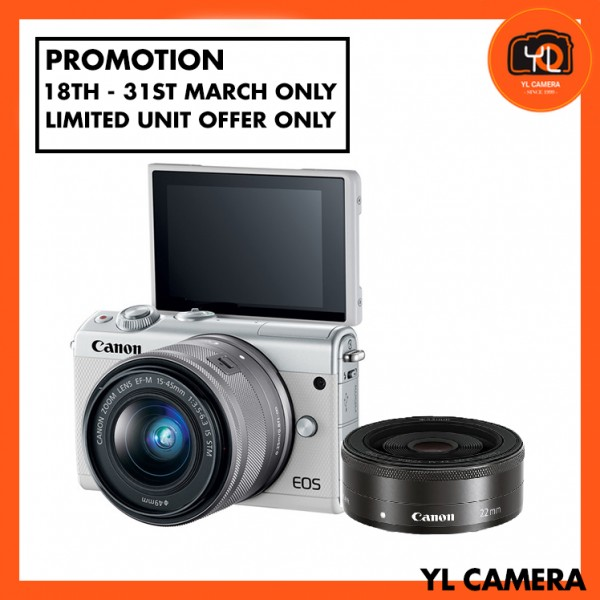 (Promotion) Canon EOS-M100 + EF-M 15-45mm F/3.5-6.3 IS STM + EF-M 22mm F/2 STM (White) [Free 16GB SD Card + Camera Bag]