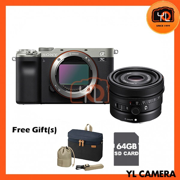 Sony A7C + FE 40mm F2.5 G - Silver (Free 64GB SD Card + LCS-BBK)