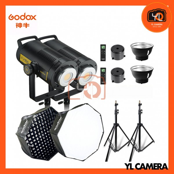 Godox FV150 Hight Speed Sync 2 LED Flash Light with SB-GUESB GUE120cm Umbrella Octa 2 Soft Box (Light Stand Set)
