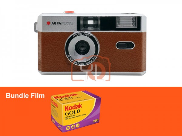 AgfaPhoto 31mm Analogue Camera - Brown (Free Kodak Gold 200)