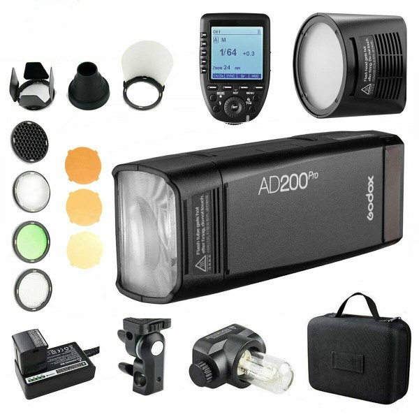 Godox AD200Pro TTL Pocket Flash Kit XProN-Nikon + H200R Round Flash Head and AK-R1Combo Set