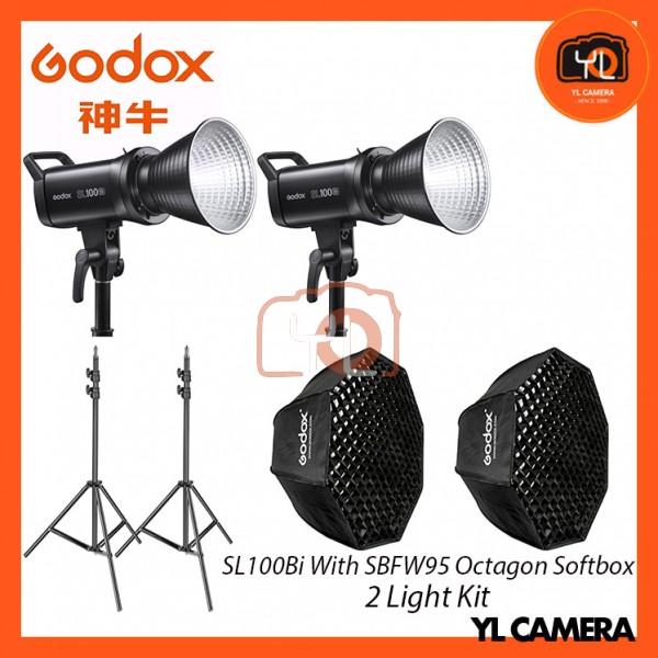 Godox SL100Bi Bi-Color LED With SB-FW95cm Octagon Soft Softbox + 280CM Light Stand (2 Light Duo Kit)