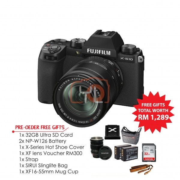 Fujifilm X-S10 W/ 18-55mm - Black (Pre-Order Free Gift Worth RM1298)