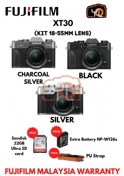 Fujifilm X-T30 (Black) + XF 18-55mm f/2.8-4R LM OIS ( Free 32GB UHS II Card , Extra Battery NP-W126s , PU Strap )