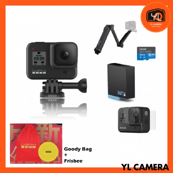 (Promotion) GoPro HERO8 Black - 3-Way Bundle Set W/ Screen Protector + Goody Bag