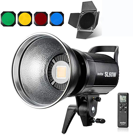 (Pre-Order) Godox SL-60W LED Video Light With BD-04 Barndoor Color Gel Kit Set