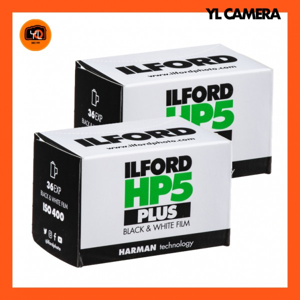 Ilford HP5 Plus Black and White Negative Film (35mm Roll Film, 36 Exposures) - Pack of 2