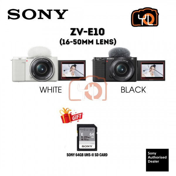 Sony ZV-E10 Mirrorless Camera with 16-50mm Lens (Black) ( Free Sandisk 64GB Extreme Pro SD Card )