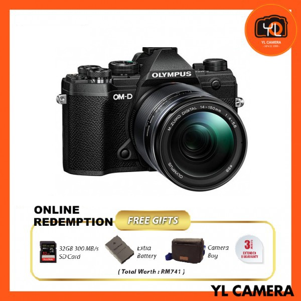 Olympus OM-D E-M5 Mark III W/ 14-150mm Lens – Black [Online Redemption Extra Battery + 32GB SD Card UHS-II + Olympus Bag]
