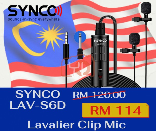 Synco Audio Lav-S6D Dual Lavalier Omnidirectional Condenser Microphones with 3.5mm to Type-C Adapter