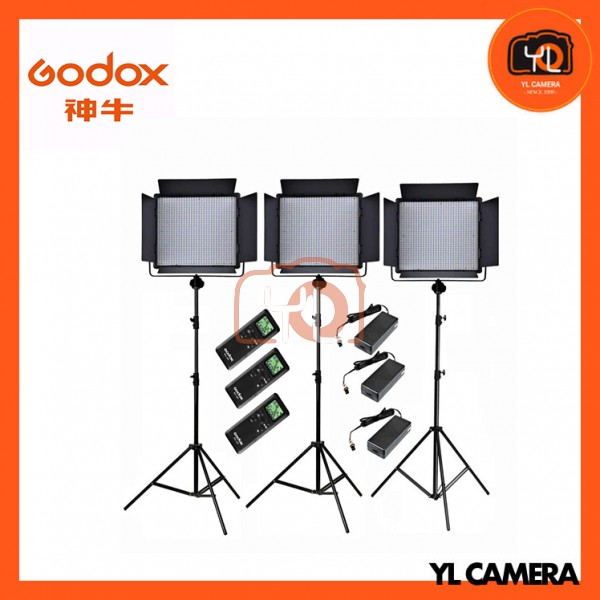 Godox LED1000Bi II Bi-Color DMX LED 3 Light Stand Kit