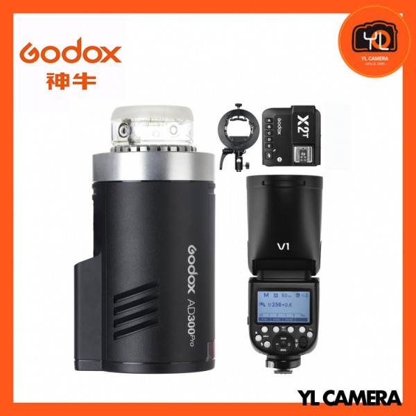 Godox AD300Pro Outdoor Pocket Flash + V1 TTL Li-ion Round Head Camera Flash + X2 2.4 GHz TTL Wireless Flash Trigger With S2 Bracket Combo Set (For Canon)