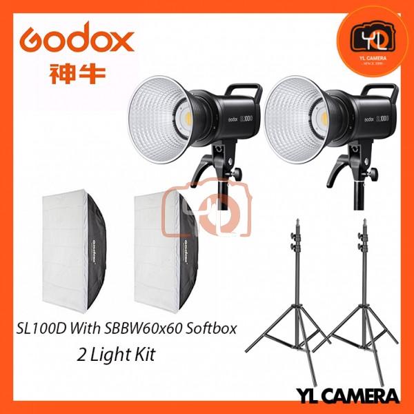 Godox SL100D Daylight With SB-BW60x60 Softbox + 280CM Light Stand (2 Light Duo Kit)