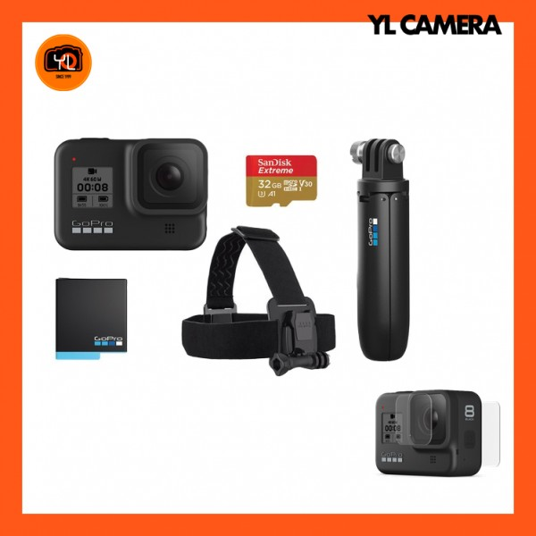 GoPro HERO8 Black - Head Strap Bundle Set W/ Screen Protector Kit