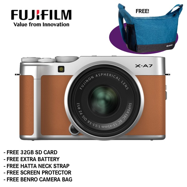 Fujifilm X-A7 + XC 15-45mm f/3.5-5.6 OIS PZ (Camel Brown) [Free 32GB SD Card + NP-W126S Battery + Hatta Neck Strap + Screen Protector + Benro Freeshoot 30 Camera Bag]
