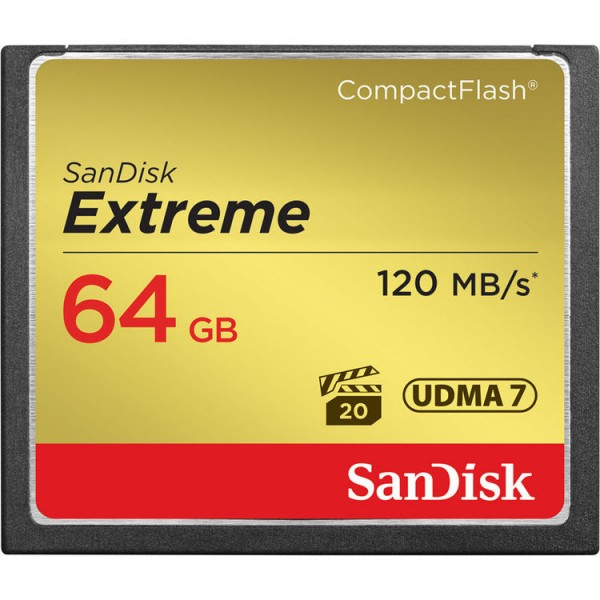 SanDisk 64GB Extreme CF Compact Flash Card (120MB/s)