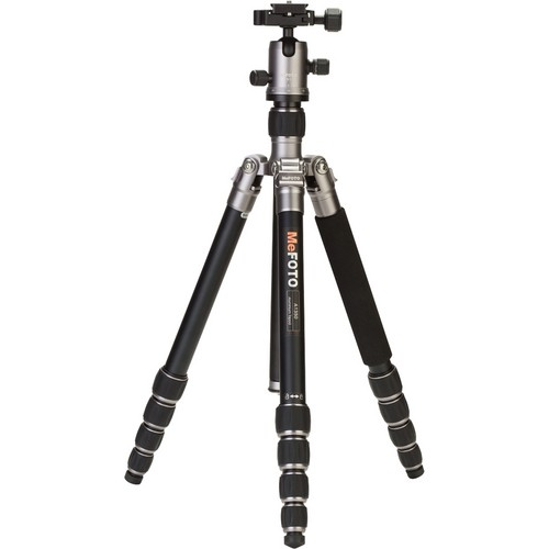(SPECIAL DEAL) Mefoto A1350Q1 RoadTrip Aluminum Travel Tripod Kit (Titanium)