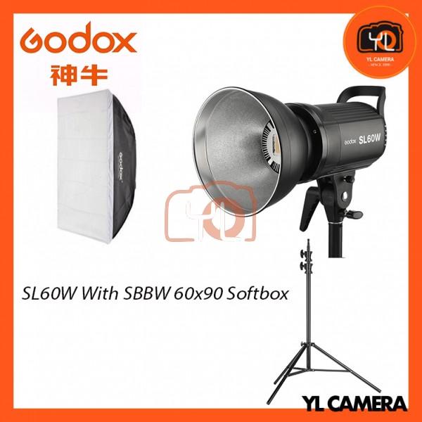 Godox SL60W LED Video Light With With SB-BW60x60 Softbox + 190CM Light Stand (1 Light Kit)