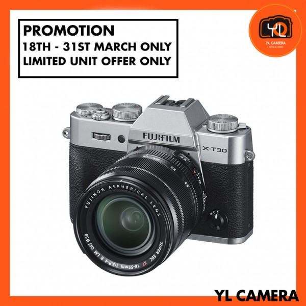 (Promotion) Fujifilm X-T30 (Silver) + XF 18-55mm f/2.8-4R LM OIS [Free 32GB SD Card]