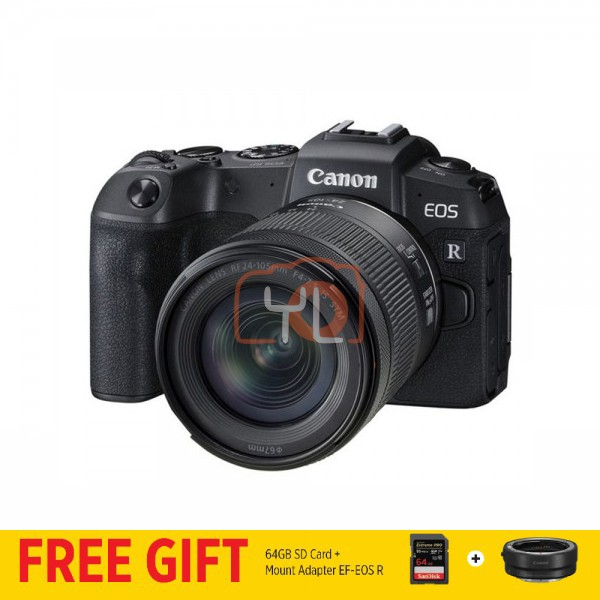 Canon EOS RP + RF 24-105mm f/4-7.1 IS STM [Free EF-EOS R Lens Mount Adapter + SanDisk ExtremePRO 64GB SD Card]