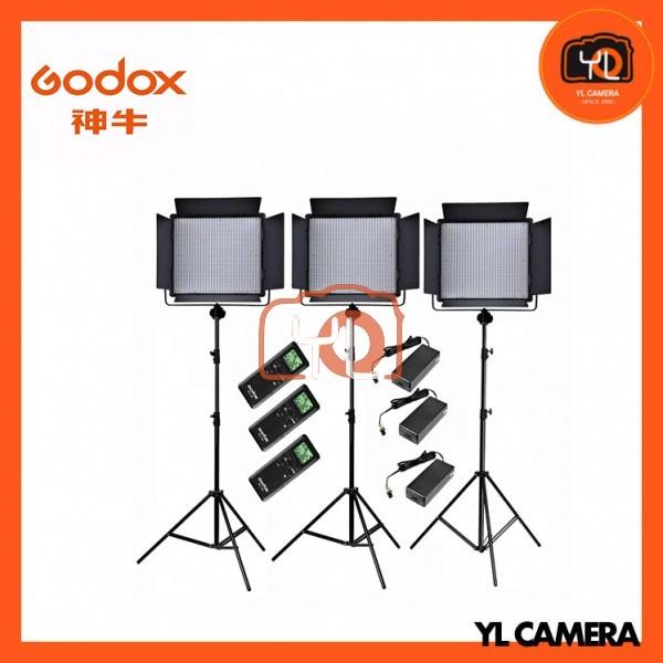 Godox LED1000D II Daylight DMX LED Video Light 3 Light Stand Kit