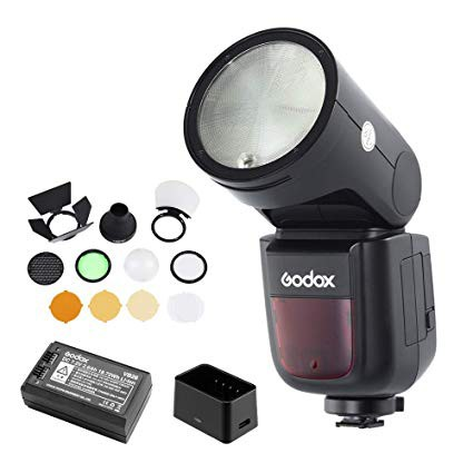 GODOX V1C Canon  TTL Li-ion Round Head Camera Flash AK-R1 Accessory Kit