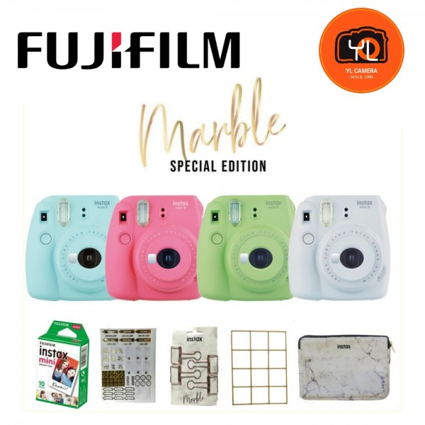 Fujifilm Instax Mini 9 Marble Special Edition Package Polaroid Camera