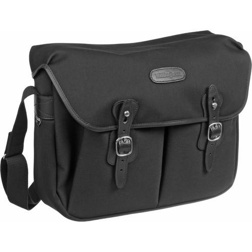 (SPECIAL DEAL) Billingham Hadley Large Canvas Shoulder Bag (Black with Black Leather Trim)
