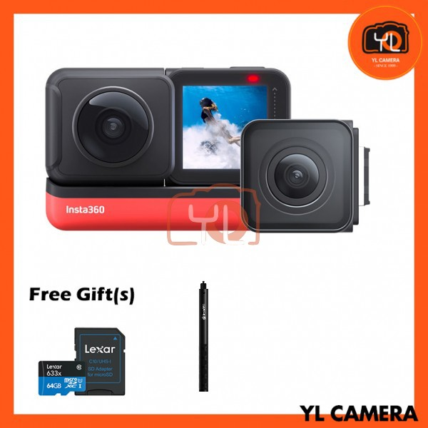 Insta360 ONE R Twin Edition (Free 64GB microSD Card + Selfie Stick)